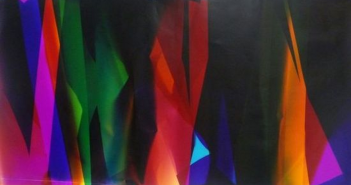 """Walead Beshty's """"Six Color Curl (CMMYYC): Irvine, California, July 18th 2008, Fuji Crystal Archive Type C, 2008,"""" Color photographic paper 93 ¾ x 50"""" irreg. Courtesy the artist and Wallspace, New York."""