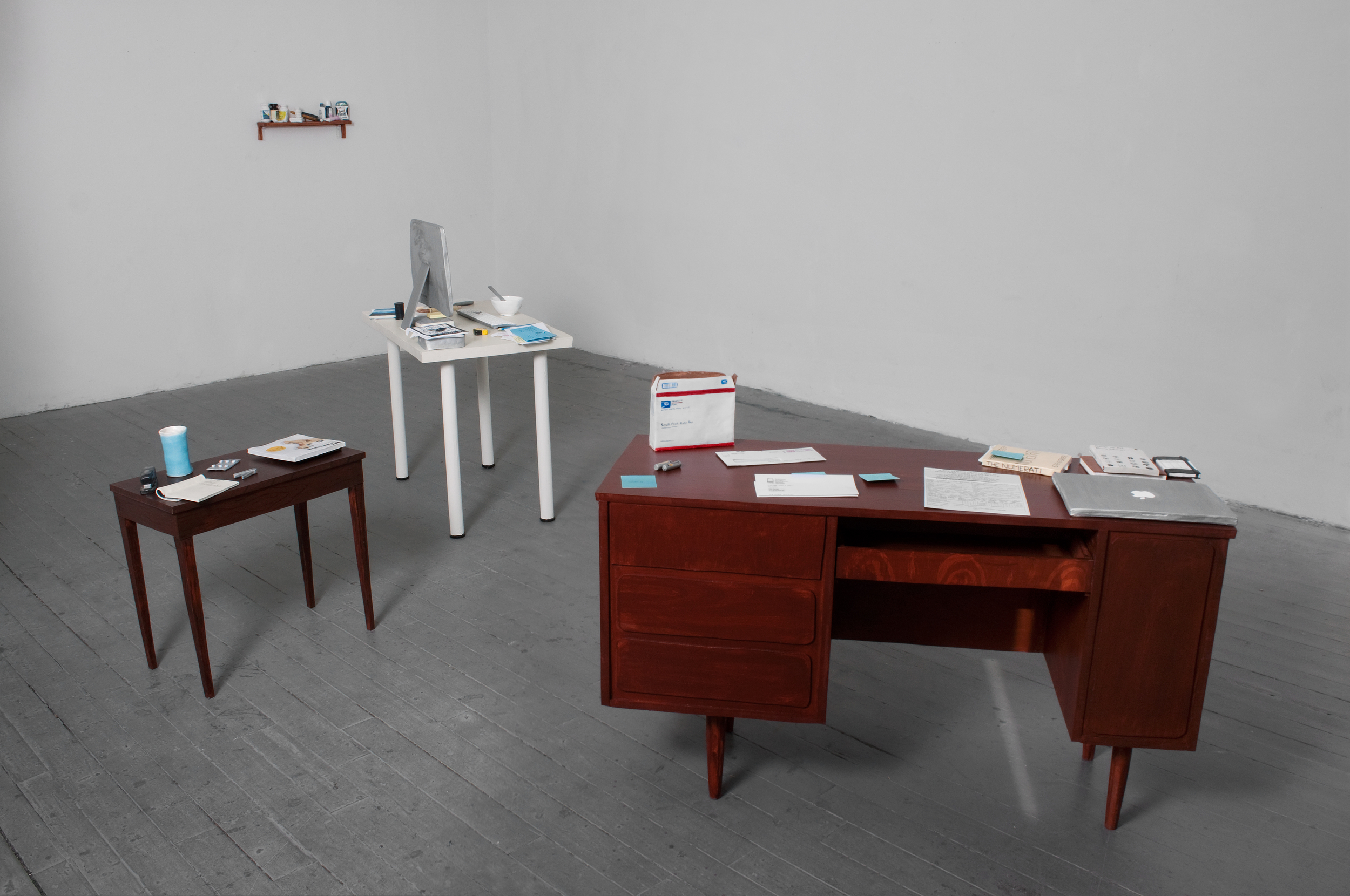 "Kevin Frances ""Our Desktops: A Love Story"" 2012, ceramic, screen prints, MDF, acrylic paint, 12' x 8' x 5'"