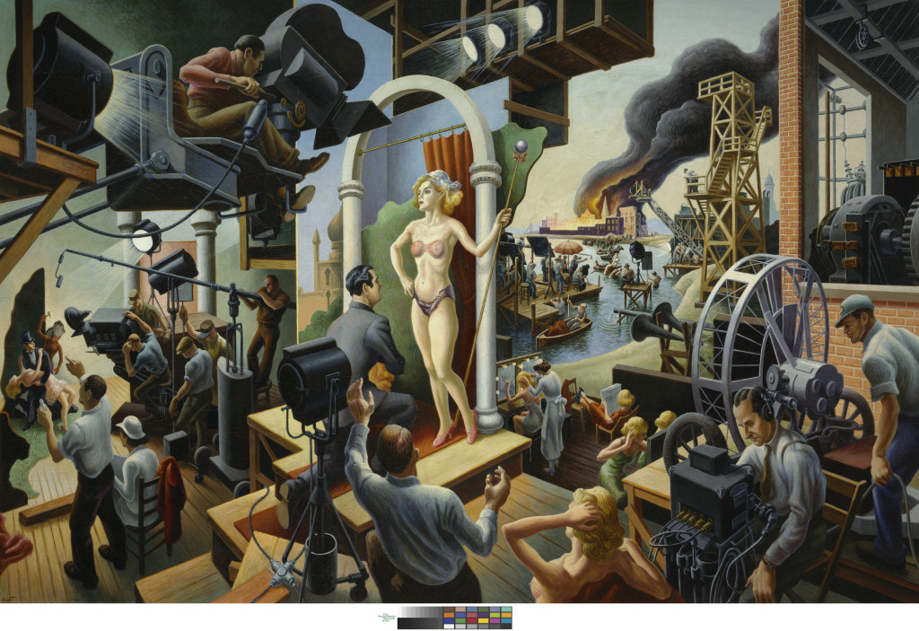 Thomas Hart Benton, Hollywood, 1937–38. Tempera with oil on canvas, mounted on board, 56 × 84 in. The Nelson-Atkins Museum of Art, Kansas City, Missouri. Bequest of the artist. Photo by Jamison Miller. © Benton Testamentary Trusts/UMB Bank Trustee/Licensed by VAGA, New York, NY.