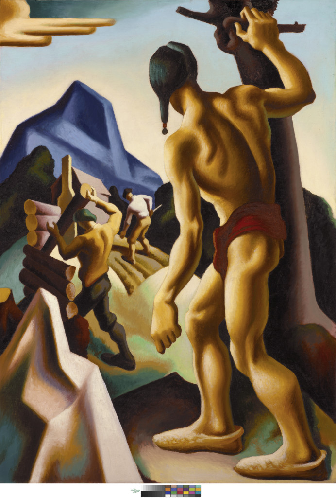 Thomas Hart Benton, The Lost Hunting Ground, 1927-28. From the mural series American Historical Epic, 1920-28. Oil on canvas, 60 1/4 x 42 1/8 in. The Nelson-Atkins Museum of Art, Kansas City, Missouri. Bequest of the artist. Photo by Jamison Miller. © Benton Testamentary Trusts/UMB Bank Trustee/Licensed by VAGA, New York, NY.