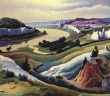 Thomas Hart Benton, Lewis and Clark at Eagle Creek, 1967. Polymer and tempera on Masonite panel, 30 1/2 x 38 in. Courtesy of the Eiteljorg Museum of American Indians and Western Art, Indianapolis, Indiana. © Benton Testamentary Trusts/UMB Bank Trustee/Licensed by VAGA, New York, NY.
