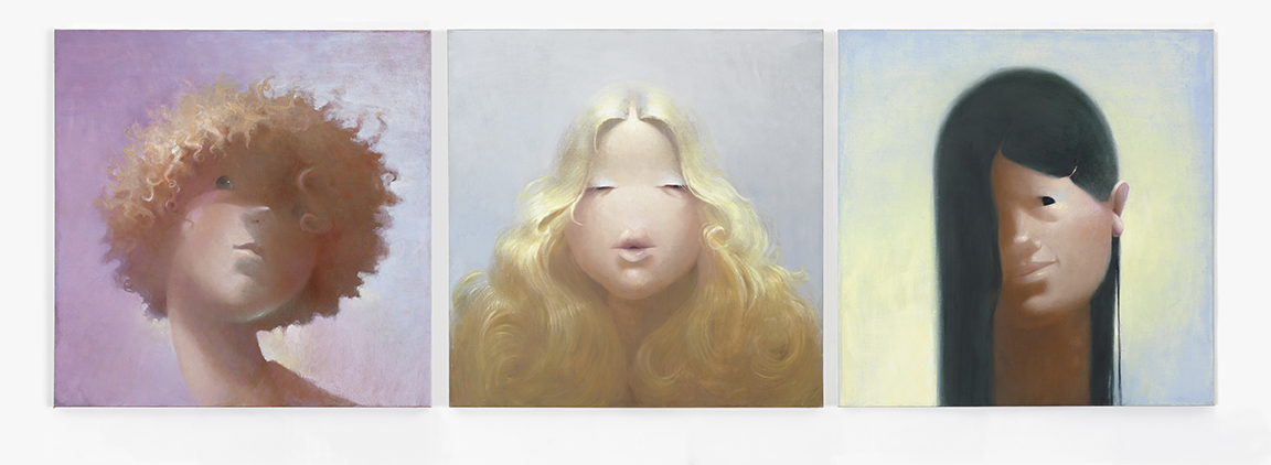 Lisa Yuskavage Blonde, Brunette, Redhead, 1995 Oil on linen Triptych Overall: 36 x 108 inches (91.4 x 274.3 cm) Courtesy the artist and David Zwirner, New York/London