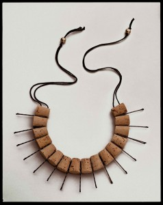 "Anni Albers and Alexander Reed, ""Neck Piece,"" c. 1940/1988, corks, bobby pins, and thread. Collection of Mary Emma Harris, New York. Courtesy the Jo sef and Anni Albers Foundation. © The Josef and Anni Albers Foundation/Artists Rights Society (ARS), New York. Photo by Tim Nighswander/Imaging 4 Art."