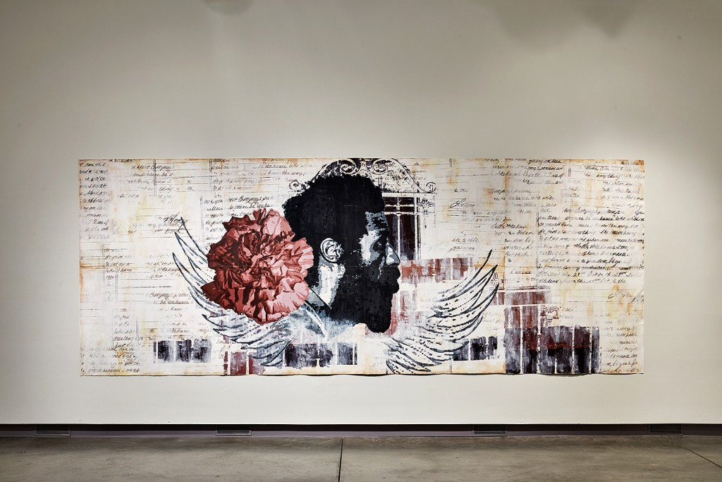 Tyanna Buie, Sweet Escape, 2012, acrylics, screen-print on paper. Institute for Contemporary Art at the Maine College of Art. Photo by Michael Wilson.