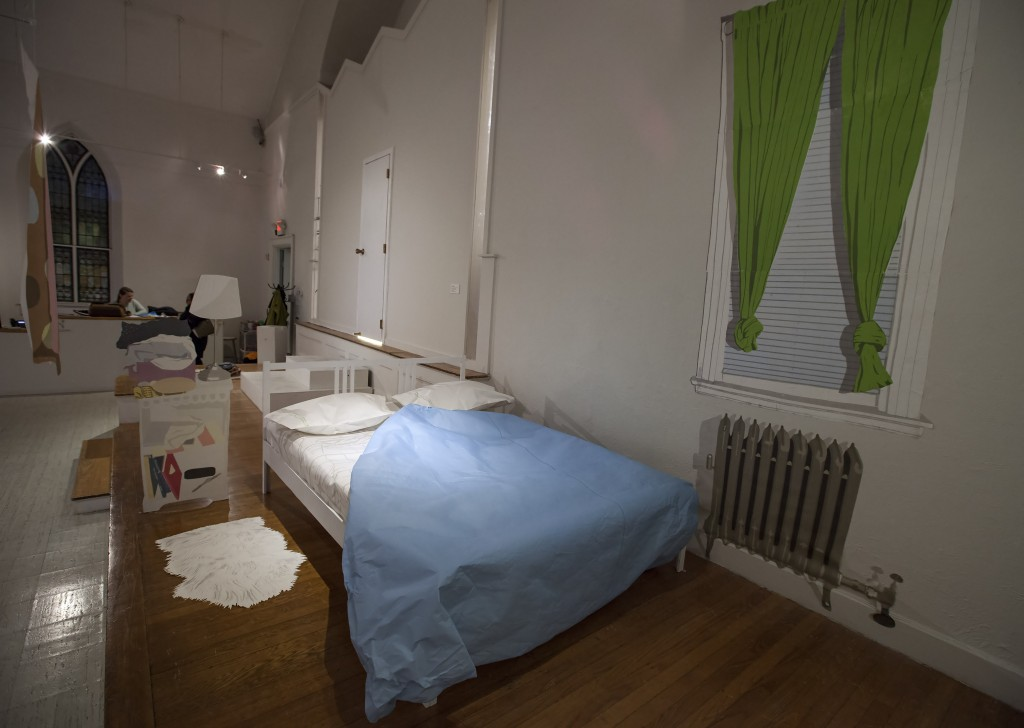 Kevin Frances, Our Bedroom on Westminster Street, screen prints, masonite, wood, foam core, 2012.