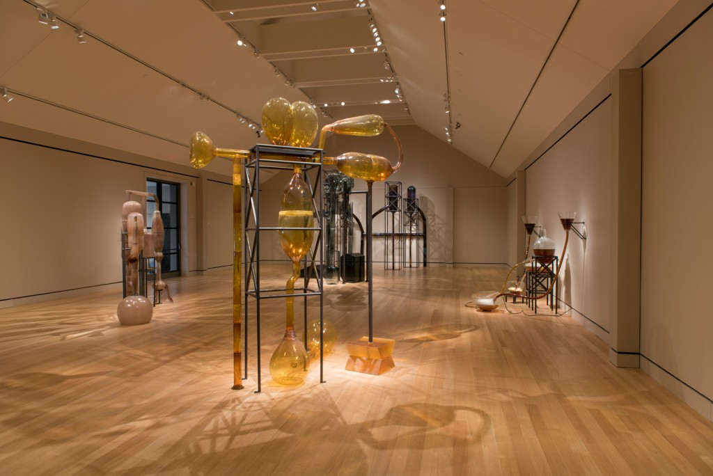 Maria Magdalena Campos-Pons, Alchemy of the Soul, Elixir for the Spirits, 2015, blown glass, cast glass, steel, cast resin, silicone, acrylic, polyvinyl chloride tubing, water, and rum essence, dimensions variable, Peabody Essex Museum. © 2016 Peabody Essex Museum. Photography by Peter Vanderwarker.