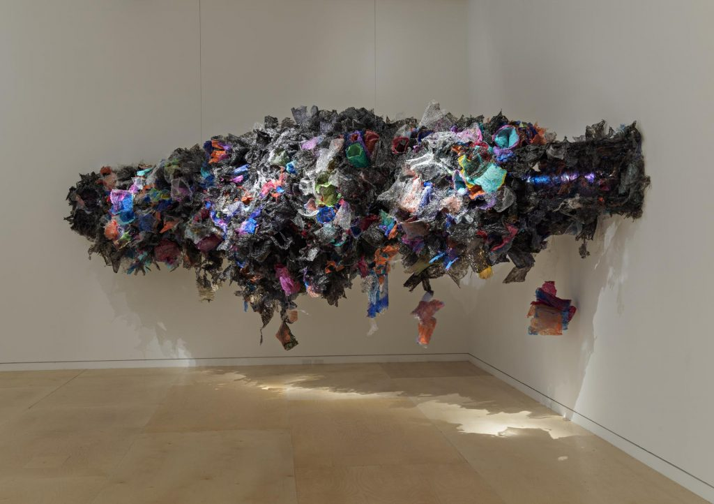 Untitled, Aaditi Joshi (Indian) 2016. Fused plastic bags, acrylic paint, LED lighting, and wooden armature.Courtesy of Artist and Gallery Maskara. Photograph by David Desouza. © Aaditi Joshi. Courtesy, Museum of Fine Arts, Boston.