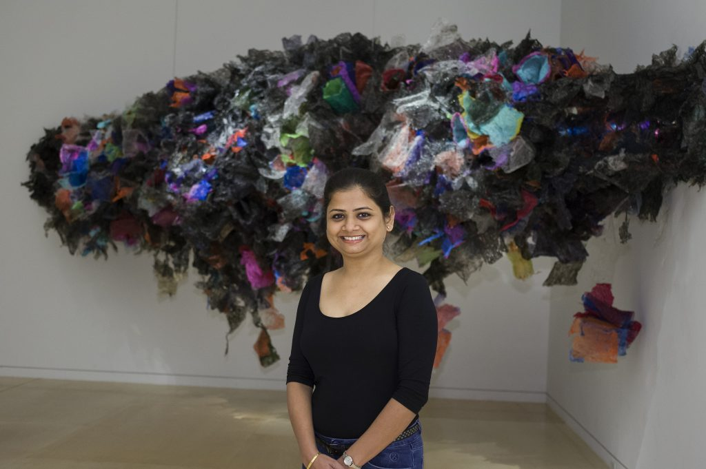 Untitled, Aaditi Joshi (Indian) 2016. Fused plastic bags, acrylic paint, LED lighting, and wooden armature.Courtesy of Artist and Gallery Maskara. Photograph by David Desouza. © Aaditi Joshi. Courtesy, Museum of Fine Arts, Boston