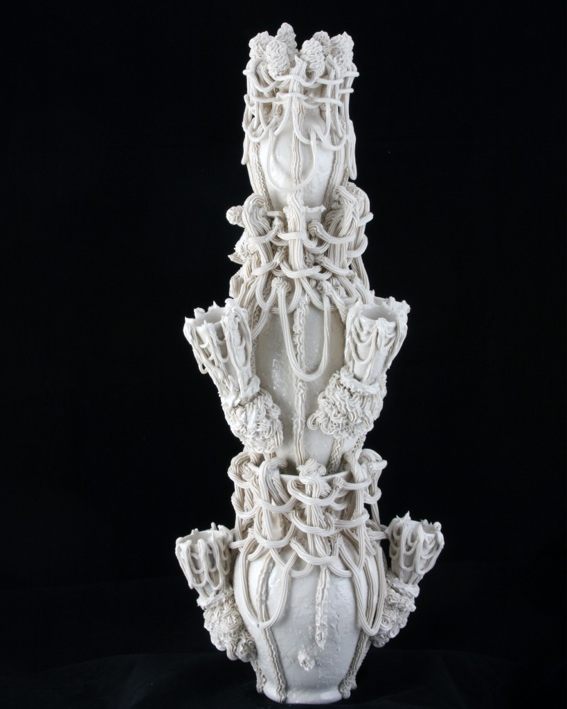 "Robert Chamberlin, Light My Fire 90, 2015, porcelain, height approx. 40""."