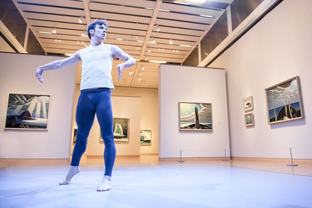 Spencer Hack, Lake Maligne, choreographed by Robert Binet, The Idea of North: The Paintings of Lawren Harris, Museum of Fine Arts, Boston, 2016. Image Credit: Liza Voll Photography.