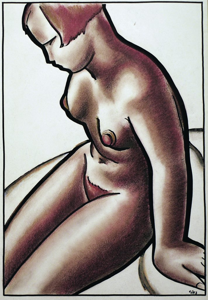 Seated Female Nude 1928 Chalk and ink 18 7/8 x 12 7/8 inches All images by Edward Hagedorn (American, 1902-1982), provided courtesy of Denenberg Fine Arts, West Hollywood, California. The exhibition was organized by Landau Traveling Exhibitions, Los Angeles, CA, in association with Denenberg Fine Arts, West Hollywood, CA.