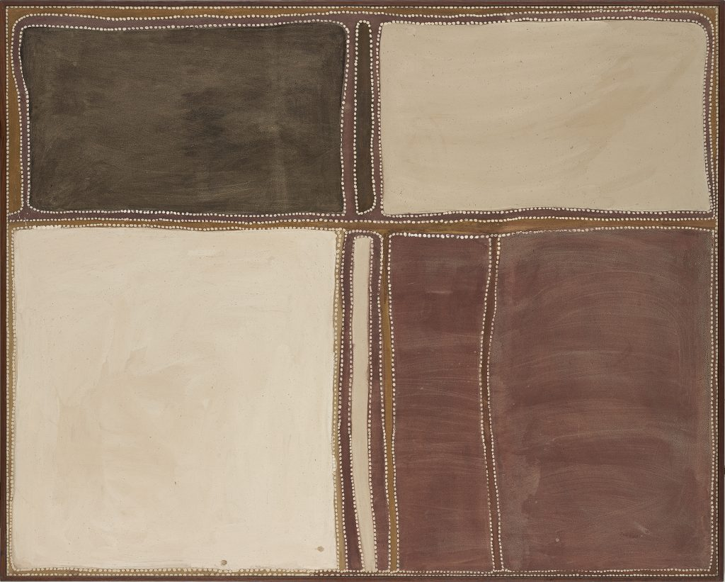 Rover Thomas, Yari country, 1989. Earth pigments and natural binders on canvas. National Gallery of Victoria, Melbourne, Purchased through the Art Foundation of Victoria with the assistance of Pacific Dunlop Limited, Fellow, 1990, O.7-1990. © The artist's estate, reproduced courtesy of Warmun Art Centre/© 2015 Artists Rights Society (ARS), New York/VISCOPY, Australia.