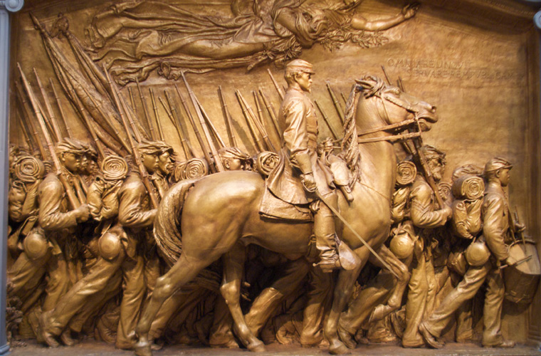 Robert Gould Shaw and the 54th Regiment Memorial. Via Wikipedia.