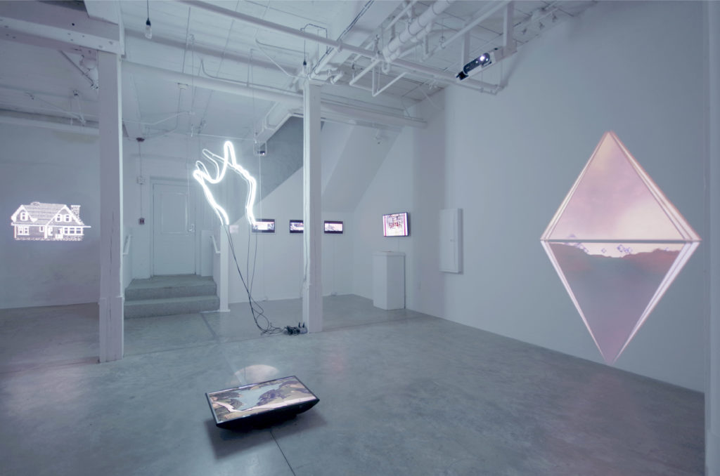 "Geographically Indeterminate Fantasies Installation at GRIN June 4 - July 2/ (Left to Right) Nicolas Sassoon, ""Favourites,"" 2012; Victoria Fu, ""Pinch-Zoom,"" 2015; Hugo Moreno, ""Art Department: Walls,"" 2015; Wickerham & Lomax, ""BOY'DegaEdited4Syndication"", 2014; Giselle Zatonyl, ""Modular Landscape (Ky plon)"", 2016; and Clement Valla, ""Approximate GIFs from Google Earth (46°42'19.50′′N, 7° 5'20.26′′E)"", 2015 (foreground). Courtesy of GRIN."
