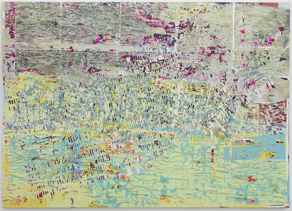 Mark Bradford (American installation and conceptual artist, b. 1961); Father You Have Murdered Me; 2012; Mixed media on canvas; 102 in. x 144 in. (259.08 cm x 365.76 cm); The Rose Art Museum, Brandeis University (Waltham, MA)