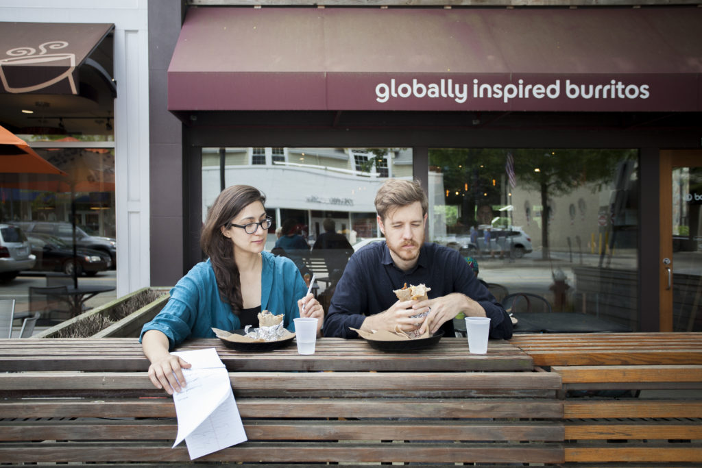 Ileana Selejan and Thomas Willis talking art and eating burritos right outside of Wellesley College. June 2016.