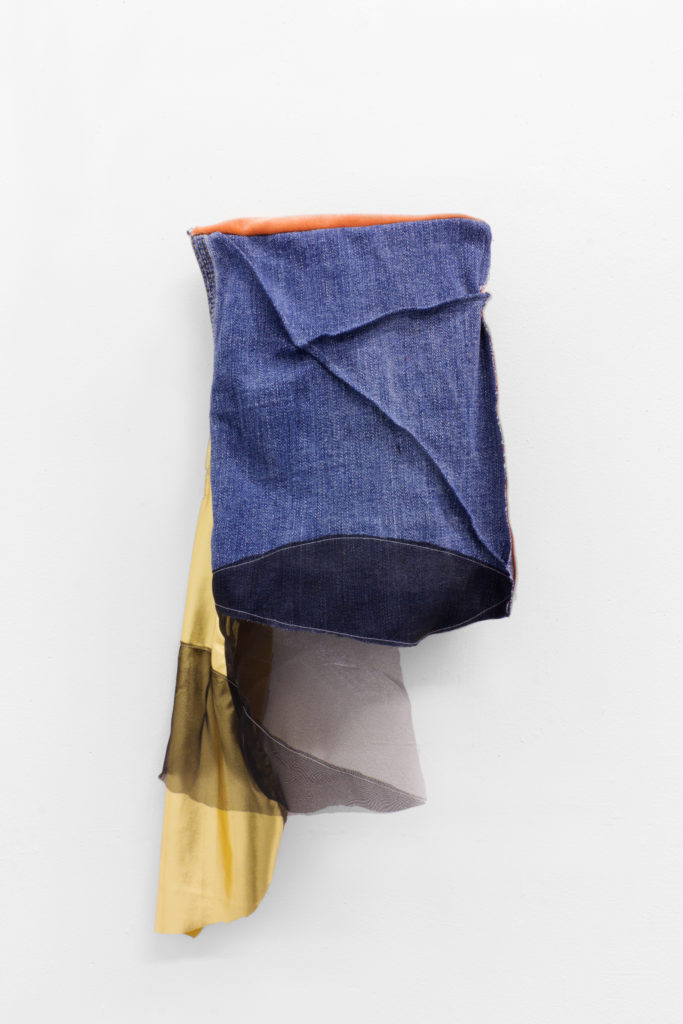 "Diana Jean Puglisi, ""Jean Painting"", 2016, denim, organza, thread, velvet, spandex and buttonholes, 21 x 9 x 2.5"", Courtesy of the artist."