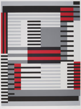 "Anni Albers, (American) (b. 1899, Berlin, Germany – d. 1994, Orange, Connecticut) ""Smyrna-knüpfteppich (Bauhaus-period), from the portfolio ""Connections/1925/1983"", 1925 Screen print, image: 20 1/8 in. x 15 1/8 in. (51.1 cm x 38.4 cm); sheet: 27 1/2 in. x 19 11/16 in. (69.8 cm x 50 cm) Museum purchase, The Nancy Gray Sherrill, Class of 1954, Collection Acquisition Fund 2016.6.2"