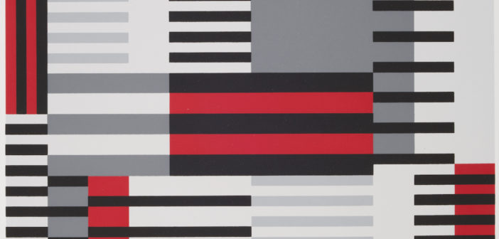 """Anni Albers, """"Smyrna-knüpfteppich (Bauhaus-period), from the portfolio """"Connections/1925/1983"""", 1925 Screen print, image: 20 1/8 in. x 15 1/8 in. (51.1 cm x 38.4 cm); sheet: 27 1/2 in. x 19 11/16 in. (69.8 cm x 50 cm) Museum purchase, The Nancy Gray Sherrill, Class of 1954, Collection Acquisition Fund 2016.6.2"""