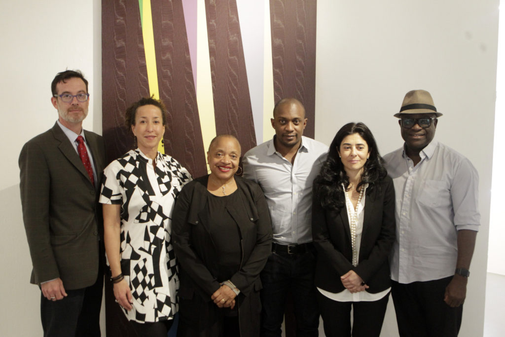 The Black Portraitures III conference organizing committee from left to right: Brett Pyper (Head of School, Wits School of Arts), art historian Cheryl Finley (Cornell University), artist and art historian Deborah Willis (New York University), artist and curator Hank Willis Thomas, curator Liza Essers (Goodman Gallery), and scholar and critic Awam Amkpa (New York University), Photo by Terrence Jennings/terrencejennings.com