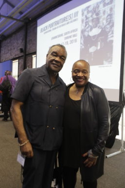 Artist and art historian David C. Driskell pictured with artist and art historian Deborah Willis, Photo by Terrence Jennings/terrencejennings.com
