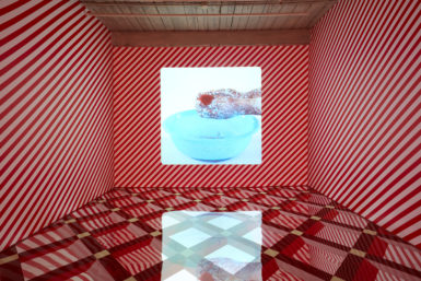Lattice Hypnagogia (Scene One), 2014. Edition of 5. Chelsea Hotel No. 2, 2010, installation of Alex Da Corte: Free Roses, MASS MoCA. Courtesy the artist. Photo: John Bernardo.