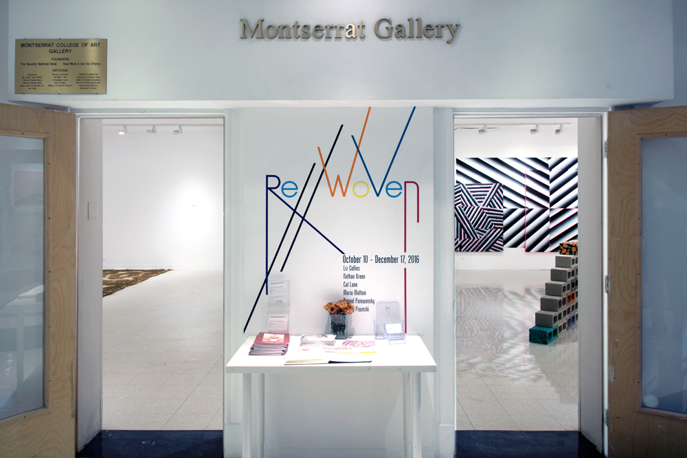 "Installation view of ""RE//Woven"" at the Montserrat College of Art, Beverly, MA. Image courtesy of Nathan Lewis."