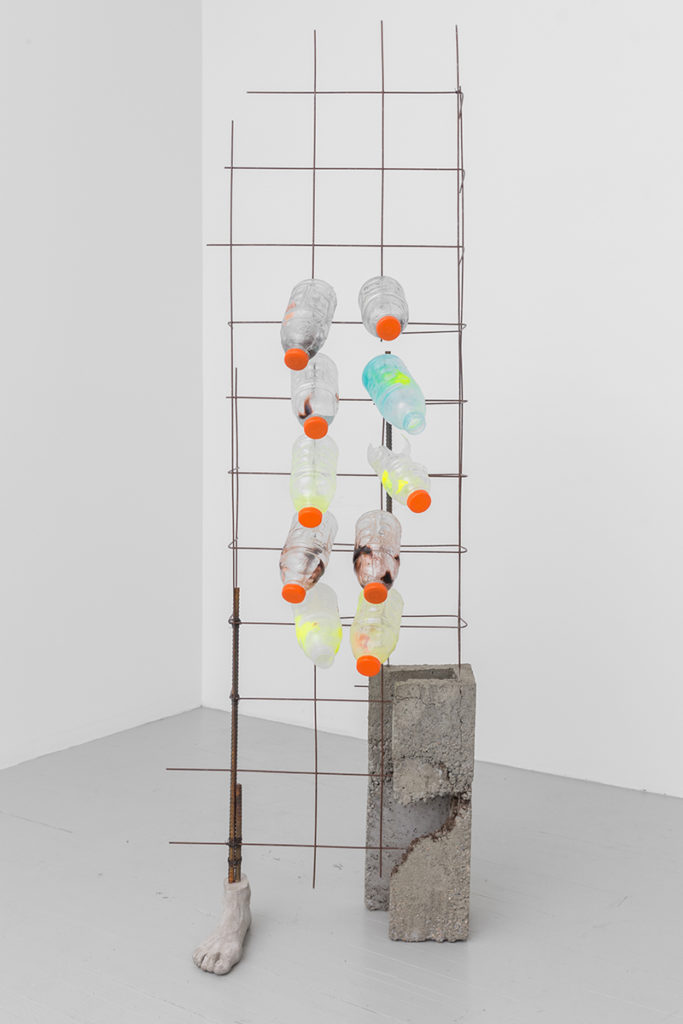 She Was Warned, 2017, cement hydrocal mix, concrete, rebar, steel wire, steel concrete reinforcement, plastic, pigmented resin 73 x 25 x 12 inches. Courtesy of the artist and Callicoon Fine Arts, NY. photo: Sean Fader.