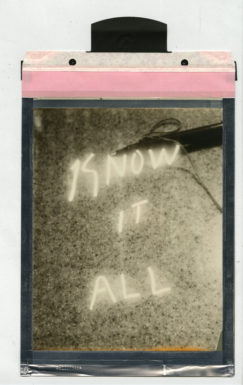 "Corey Escoto, ""Know It All,"" 2015. Impossible Silver Shade Film (polaroid), 8 X 14 inches with pull tab."