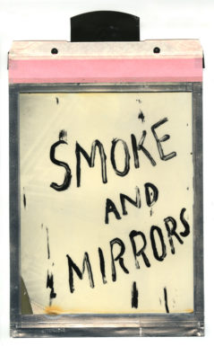 """Corey Escoto, """"Smoke and Mirrors,"""" 2016. Impossible Silver Shade Instant Film (polaroid), 8 X 14 inches with pull tab."""