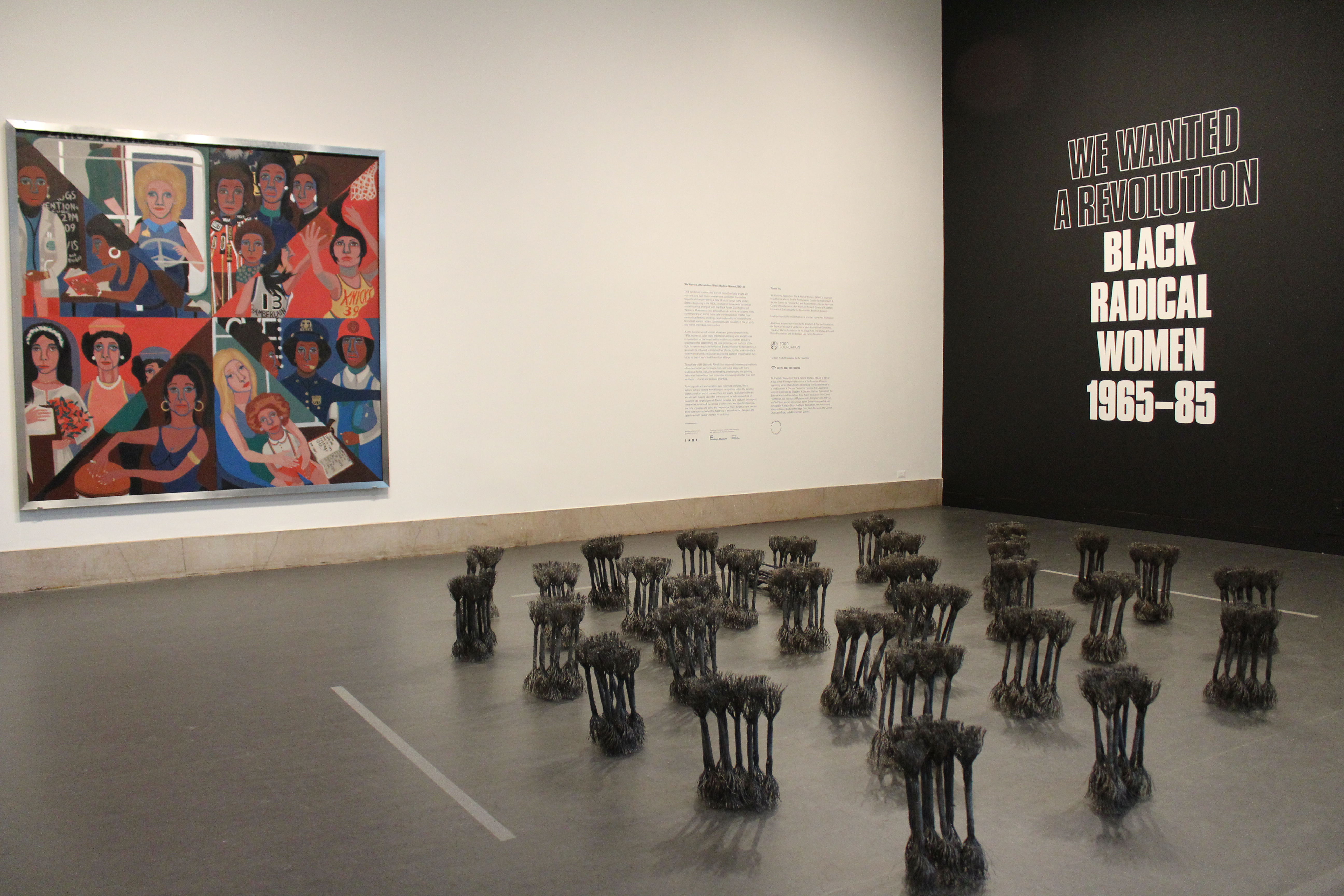 "Another peek into a gallery space featuring work Faith Ringgold's ""For the Women's House"" and Maren Hassinger's ""Leaning"". Photocredit: Chanel Thervil"