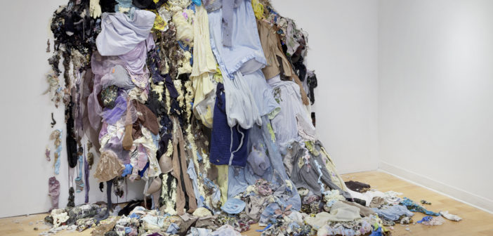 "Sarah Meyers Brent, Beautiful Mess, 2017, fabric, acrylic, and mixed media on drywall, 144"" x 120"" x 75"". Photo Credit: Will Howcroft Photography."