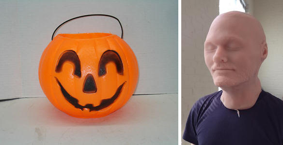 Left: Jack-o-lantern produced by Cado Company, Leominster, Massachusetts. Right: Artist in mask. Both images courtesy the artist
