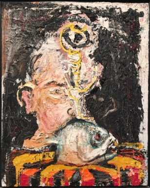 """Portrait with Fish"", Sam Messer, 24"" X 20"", oil on canvas. Courtesy of Matter & Light."